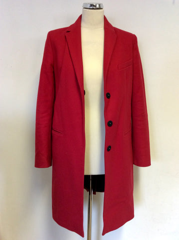 FRENCH CONNECTION RED WOOL & CASHMERE COAT SIZE 8