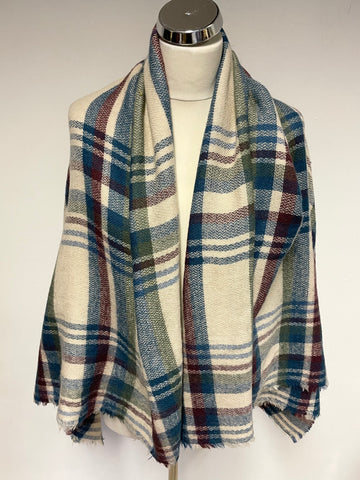 WHITE STUFF LARGE CREAM, BLUE ,GREEN & RED CHECK SHAWL/WRAP