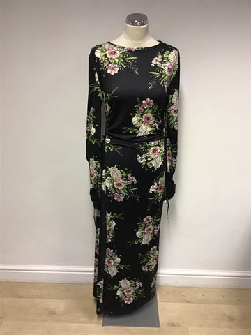 BRAND NEW ELLI WHITE BLACK FLORAL PRINT LONG SLEEVE MAXI DRESS SIZE L UK 10/12