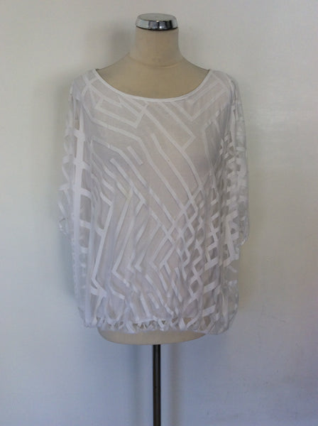 PHASE EIGHT WHITE SEMI SHEER PRINT OVERLAY TOP SIZE 14
