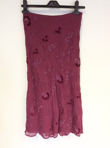 BRAND NEW WHISTLES RASPBERRY PINK BEADED & EMBROIDERED KNEE LENGTH SKIRT SIZE 8/10