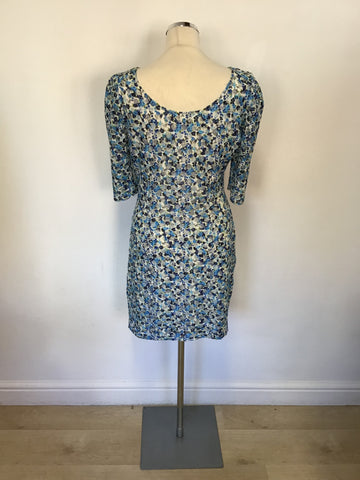 REISS RACHEL TURQOUISE,BLUE & WHITE FLORAL PRINT STRETCH SHORT SLEEVE DRESS SIZE 14