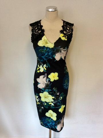 STAR BY JULIEN MACDONALD BLACK FLORAL PRINT BODYCON DRESS SIZE 8