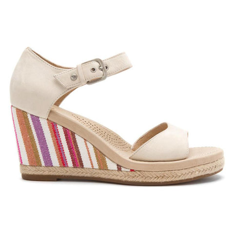 BRAND NEW UGG ATASHA CREAM LEATHER & STRIPED WEDGE HEEL SANDALS SIZE 7/40