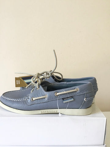 BRAND NEW SEBAGO LIGHT BLUE CASUAL MARINE DOCKSIDERS LEATHER BOAT SHOES SIZE 4/37