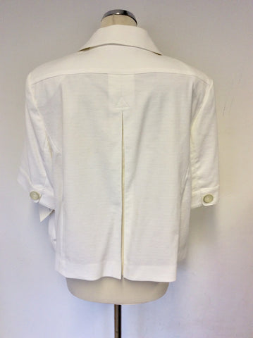 BRAND NEW BASLER WHITE CROPPED PIQUE SHORT SLEEVE JACKET SIZE 20