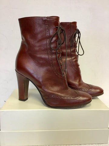 HOBBS CHESTNUT BROWN LEATHER LACE UP BOOTS SIZE 5/38