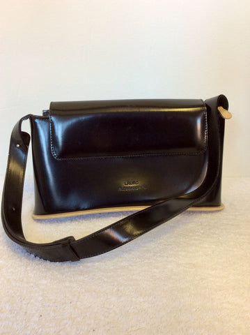 LAURO ALESSANDRINI BLACK & BEIGE TRIM SHOULDER BAG