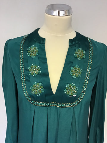 MONSOON EMERALD GREEN SILK EMBELLISHED LONG SLEEVE DRESS SIZE 10