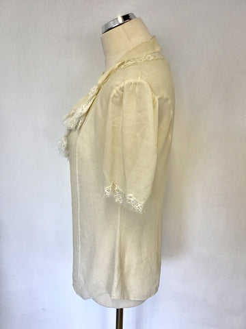 TEMPERLEY IVORY SILK FRILL & LACE TRIM SHORT SLEEVE BLOUSE SIZE 10