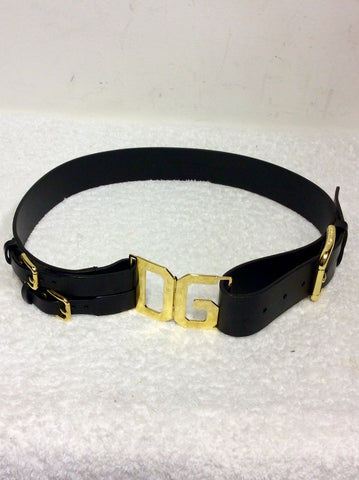 DOLCE & GABBANA BLACK & GOLD TRIM LEATHER BELT SIZE 38 UK S/M