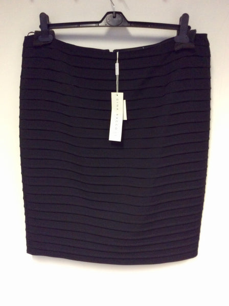 BRAND NEW GINA BACCONI BLACK PLEAT PENCIL SKIRT SIZE 18