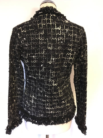 MONSOON BLACK & WHITE WEAVE KNIT JACKET SIZE 10