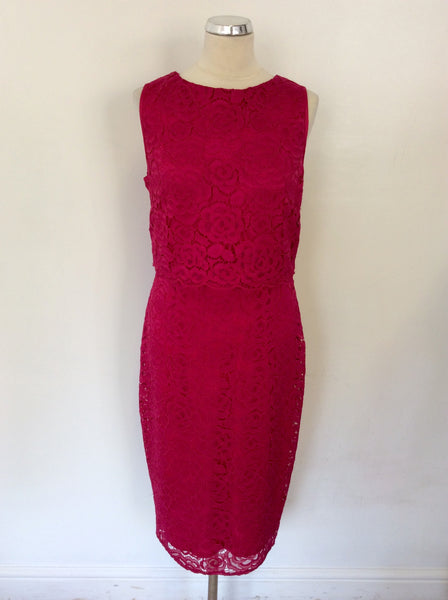 M&CO BOUTIQUE BERRY PINK LACE SLEEVELESS DRESS SIZE 14