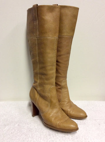 MARKS & SPENCER CAMEL/TAN LEATHER KNEE LENGTH BOOTS SIZE 7/40.5