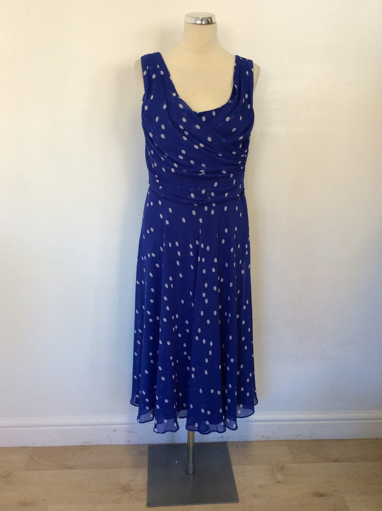 b095a1007a JACQUES VERT BLUE   WHITE SPOT SPECIAL OCCASION DRESS SIZE 12 ...