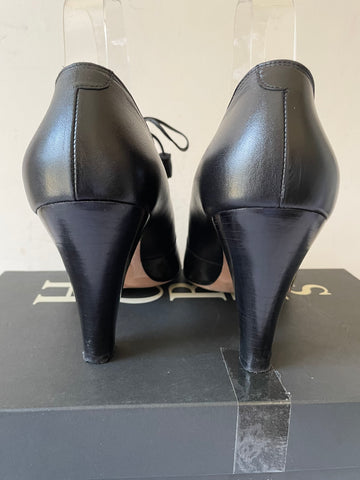 HOBBS BLACK LEATHER MINNIE LACE TIE HEELS SIZE 5/38