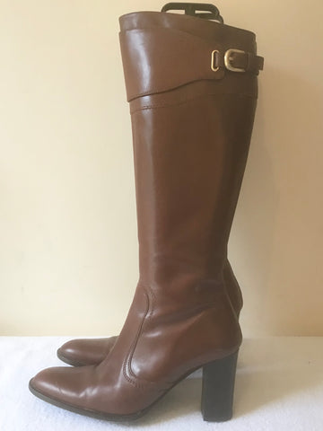KAREN MILLEN CHESTNUT BROWN LEATHER KNEE LENGTH BUCKLE TRIM HEEL BOOTS SIZE 6/39