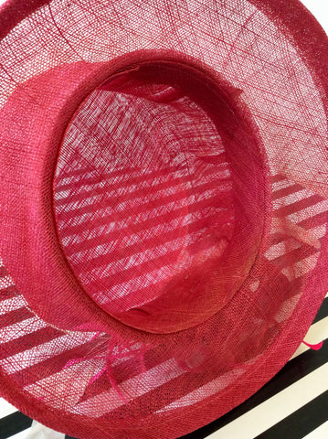 UNBRANDED FUCHSIA PINK FEATHER TRIM FORMAL HAT