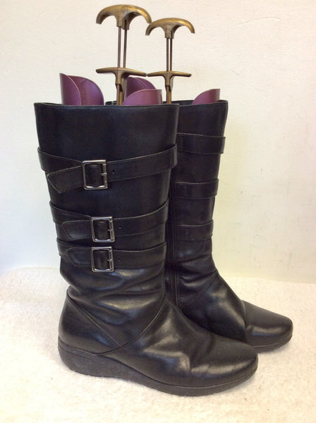 CLARKS BLACK LEATHER BIKER BOOTS WIDE FIT SIZE 7.5