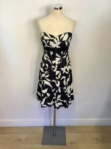 KAREN MILLEN BLACK,IVORY & GREY BOW PRINT STRAPLESS OCCASION DRESS SIZE 12