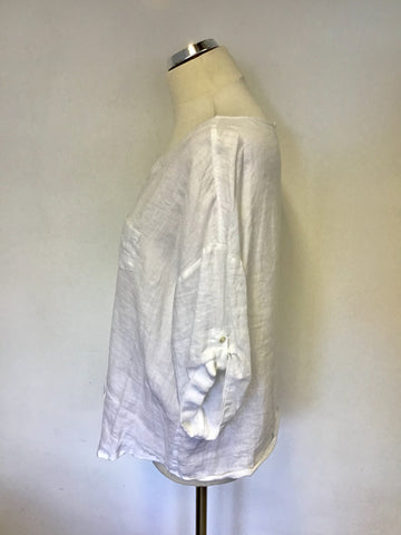 JAEGER WHITE LINEN SHORT SLEEVE TOP SIZE 16