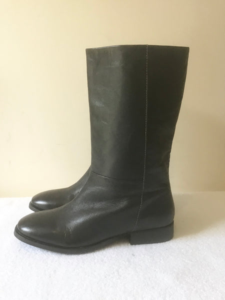 BRAND NEW JIGSAW KANON CHARCOAL GREY LEATHER MID CALF LENGTH BOOTS SIZE 3.5/36