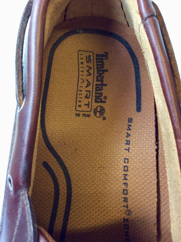 BRAND NEW TIMBERLAND BROWN LEATHER LACE UP BOAT SHOES SIZE 11.5/46