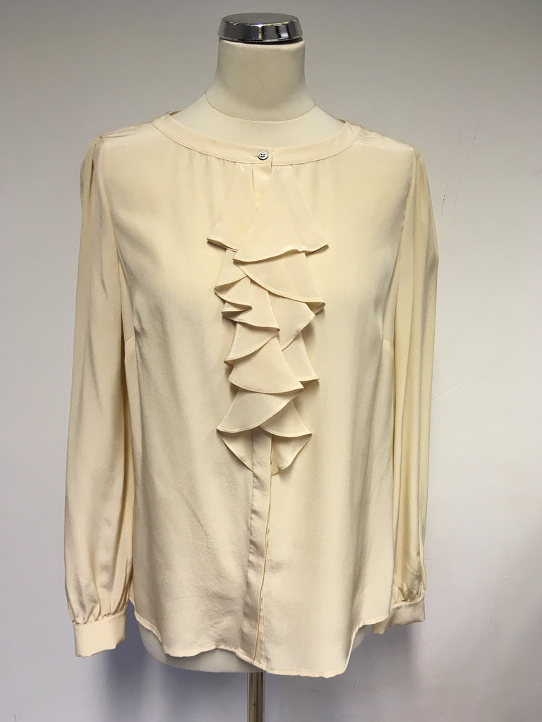 Austin Reed Nude Silk Frill Front Blouse Size 12 Whispers Dress Agency