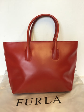 FURLA RED COATED LEATHER TOTE BAG