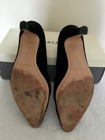 BALLY BLACK SUEDE HEELED COURT SHOES SIZE 4.5/37.5