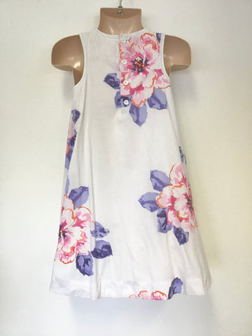 JOULES WHITE FLORAL PRINT SLEEVELESS DRESS AGE 8 YEARS