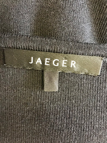 JAEGER BLACK SILK BLEND V NECK JUMPER SIZE M