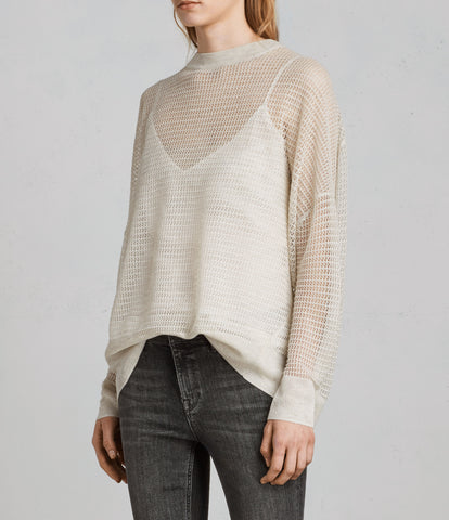 ALL SAINTS RIZO NATURAL OPEN KNIT CREW NECK LONG SLEEVE JUMPER SIZE M