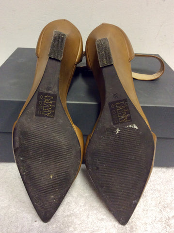 MINT VELVET ELENA TAN LEATHER SLIM WEDGE HEELS SIZE 6/39
