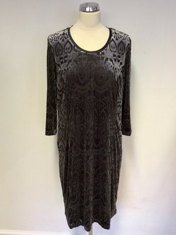 BRAND NEW BARBARA LEBEK NIGHTFLOWER STRETCH VELVET PRINT DRESS SIZE 18