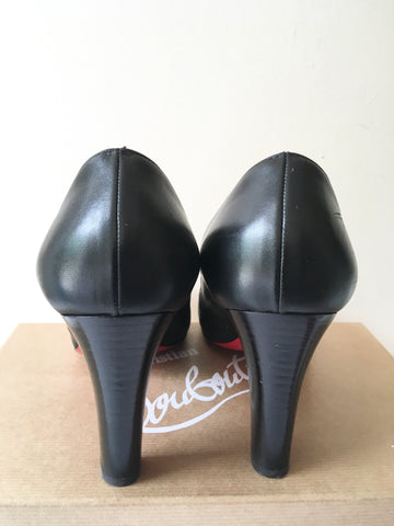 CHRISTIAN LOUBOUTIN BLACK MISS TACK 85 CALF LEATHER HEELS SIZE 7/40.5