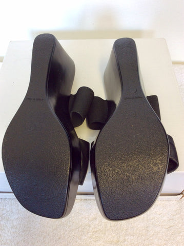 BRAND NEW JONES BOOTMAKER BLACK LEATHER WEDGE HEEL MULES SIZE 6/39