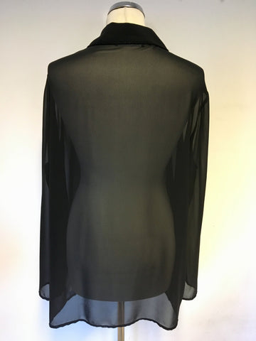 BRAND NEW ARIGIANO BLACK SEMI SHEER BEADED TRIM BLOUSE SIZE 20