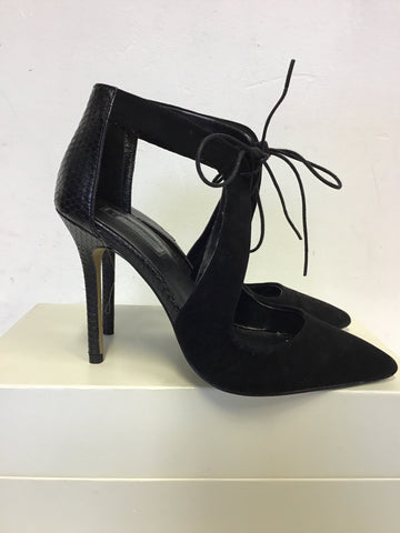 TOPSHOP BLACK SUEDE & LEATHER LACE TIE FRONT CUT OUT HEELS SIZE 3.5 / 36