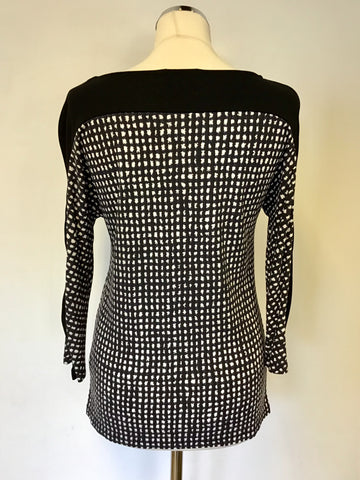 BRAND NEW LK BENNETT SAMPLE ZARIA BLACK & WHITE PRINT TOP SIZE S