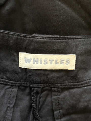 WHISTLES BLACK COTTON CROP TROUSERS SIZE 8
