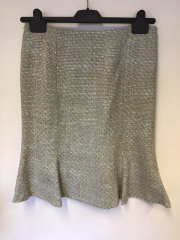 LK BENNETT DUCK EGG & BEIGE WEAVE FLUTED HEM PENCIL SKIRT SIZE 12