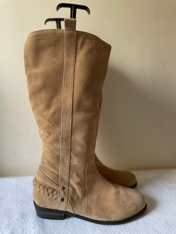 HOTTER CAMEL SUEDE KNEE LENGTH BOOTS SIZE 7/40