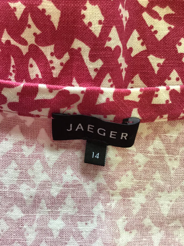 BRAND NEW JAEGER PINK & WHITE PRINT COTTON & LINEN SHIFT DRESS SIZE 14