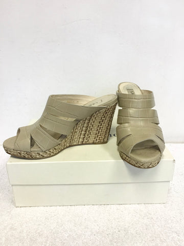 LK BENNETT LIA TAUPE CROC LEATHER WEDGE HEEL MULES SIZE 3.5/36