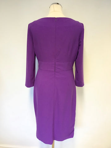 LK BENNETT PURPLE 3/4 SLEEVE SPECIAL OCCASION PENCIL DRESS SIZE 14