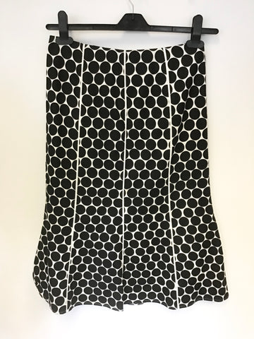 COUNTRY CASUALS PETITE BLACK & WHITE SPOT LINEN & COTTON A LINE SKIRT SIZE 8