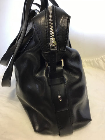 FRANCESCO BIASIA BLACK SPLIT LEATHER SHOULDER BAG