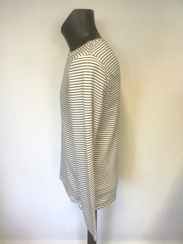 REISS BLUE & WHITE STRIPE COTTON BLEND LONG SLEEVE TOP SIZE M
